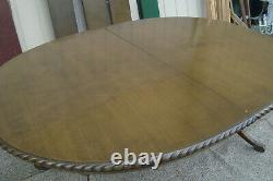 00001 Antique Solid Mahogany Dining Table with 3 leafs 96 x 48 x 30H + Pads