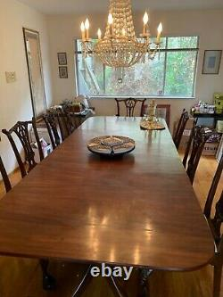 00001 Set custom Mahogany table and ten Ball and Claw Foot Dining Room Chairs