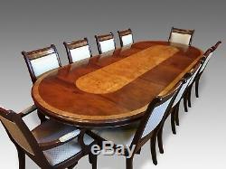 10.4ft Designer Regency Style Mahogany / Burr Ash Dining Table French Polished