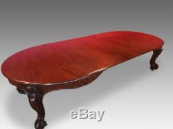 12ft Opulent, 1831 1901, Antique William IV Cuban mahogany table French polished