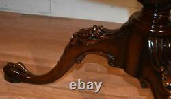 1910s Antique Weiman English chippendale Mahogany Leather top Center Hall Table