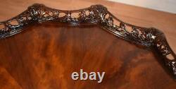 1920s Antique English Chippendale Crotch Mahogany carved Center table