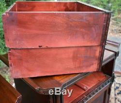 1930s Chinese Chippendale Mahogany and Leather pair Nightstands bedsides tables