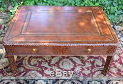 1940s Maitland Smith Chinese Chippendale Mahogany leather top coffee table