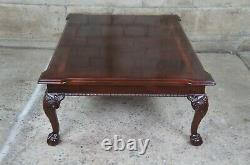 1994 Thomasville Flame Mahogany Chippendale Ball Claw Coffee Cocktail Table 48