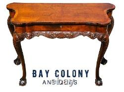 19th C Antique Chippendale Walnut Ball & Claw Console Table / Server