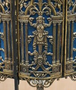 19th Century French Regency Brass Cast Heraldic Regal Lions Side Table Demi Lune