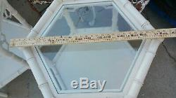 2 VINTAGE Chinese Chippendale Faux Bamboo Hollywood Regency TABLES Shabby Chic $