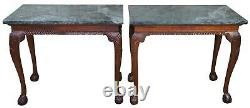 2 Vintage Chippendale Style Mahogany Carved Marble Hall Console Tables Ball Claw