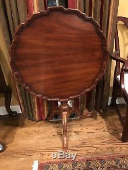 43243E HENKEL HARRIS Clawfoot Piecrust Mahogany Tilt Top Table