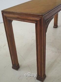 48370EC HENREDON Modern Chippendale Oak & Walnut Sofa Table