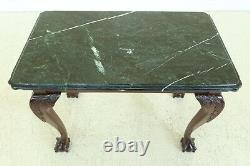 49331EC Marble Top Ball & Claw Mahogany Mixing Occasional Table