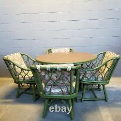 5 PC Mid-Century Chippendale Ficks Reed Rattan Dining Set Table 4 Swivel Chairs