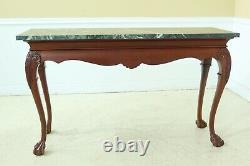 50645EC Chippendale Mahogany Green Marble Top Ball & Claw Console Table