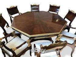 6.6ft Designers Empire style Rosewood & Sunburst flame mahogany dining set