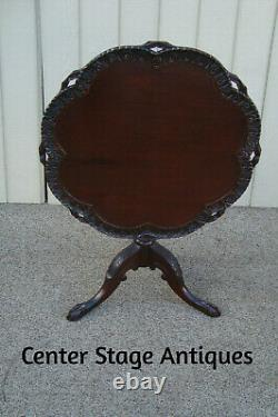 60606 CHARAK Hand Made Solid Mahogany Tilt Top Lamp Table Stand QUALITY