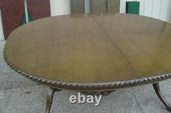 61183 Antique Solid Mahogany Dining Table with 3 leafs 96 x 48 x 30H + Pads