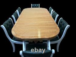 7.6ft ART DECO GRAND STYLE CHERRY WOOD DINING TABLE PRO FRENCH POLISHED