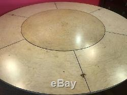 7.6ft Stunning Burr Walnut Jupe circular dining table, pro French Polished
