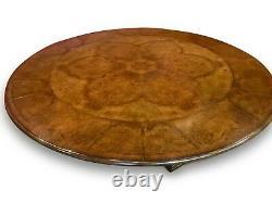 7.6ft amazing Burr Walnut Jupe circular dining table, pro French Polished