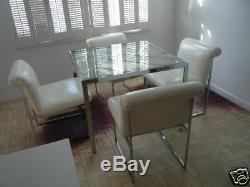 70's D. I. A Milo Baughman Chrome Chinese Chippendale Table W 4 Chairs