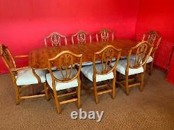 7ft Amazing Designer Art Deco style Burr Yew tree dining table French Polished