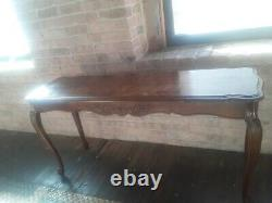 A Gorgeous Vintage Chippendale Style Walnut Sofa/Hall Table with Ball & Claw Feet