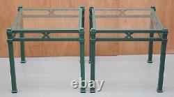 A Pair Of Vintage Pierre Vandel Paris Green Metal Lamp/side Table With Glass Top