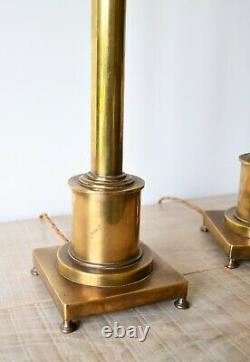 A Pair of Besselink & Jones Candlestick Brass Hall Desk Bed Side Table Lamps