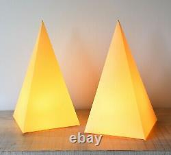 A Pair of Unusual Obelisk Shape Vintage Hall Desk Bed Side Kitchen Table Lamps