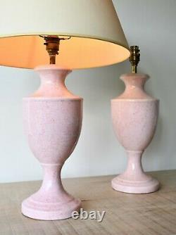 A Pair of Vintage Pink Urn Shape Ceramic Brass Hall Desk Bed Side Table Lamps