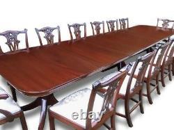 Amazing 14ft triple pedestal Regency style Brazilian mahogany dining table