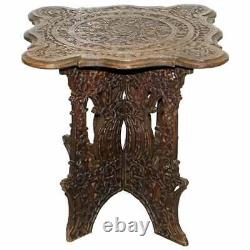 Anglo Burmese Hand Carved 19th Century Rosewood Antique Side End Lamp Wine Table