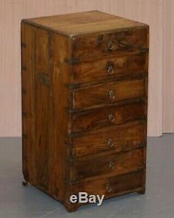 Anglo Indian Camphor Wood Military Campaign Chest Of Drawers Pair Bedside Table