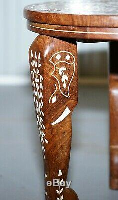 Anglo Indian Export Rosewood Elephant Inlaid Side Lamp End Wine Table Flowers