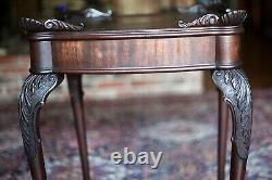 Antique 1800s Chippendale End Side Table Mahogany Ball & Claw Feet cabriole legs