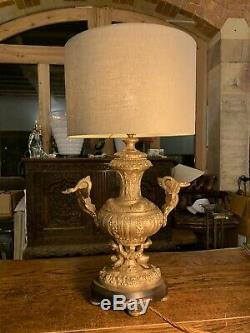 Antique 1920s Spanish Gilded Solid Brass Ornate Table Lamp, Rococo, Baroque