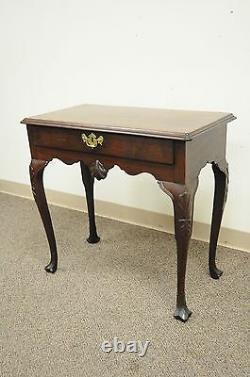 Antique 30W Chippendale Queen Anne Shell Carved Mahogany 1 Drawer Console Table
