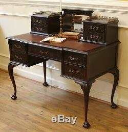 Antique Carved Chippendale Desk, Ladies Writing Table. English, Dark Mahogany