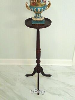 Antique Chippendale Queen Anne Pedestal Plant Table Tripod Mahogany Wooden Stand
