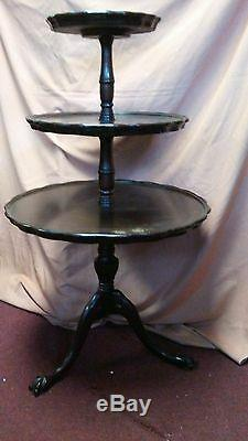 Antique Chippendale Style 3 Tiered Ball and Claw Footed Mahogany Pie Table