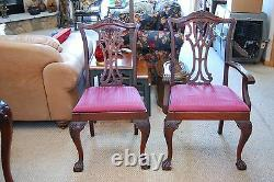 Antique Deep Cherry Ball and Claw Dining Room Set. Table is 62X42 withOne Leaf
