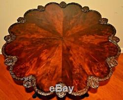 Antique Early Federal Georgian Chippendale Flame Mahogany Tilt Top Tea Table