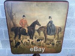 Antique Equestrian Solid Mahogany Tilt Top Pedestal Table