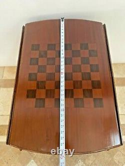 Antique Game Table Victorian Chippendale Drop Side Two Drawers Chess Inlay
