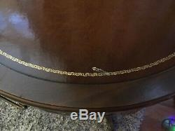 Antique Leather Top Round Mahogany MersmanDrum Table w Drawer Chippendale