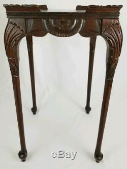 Antique Louis XV Carved Mahogany Accent Table Tray Top Chippendale Vintage