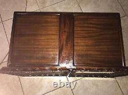 Antique Mahogany Wood Claw Foot Glass Tray Top Coffee Table