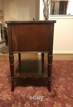 Antique Mid Century Chinese end table chippendale Fretwork with Drawer Shelf #6095