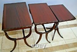 Antique Nesting Tables set of 3 Solid Mahogany Roman Empire Chippendale style